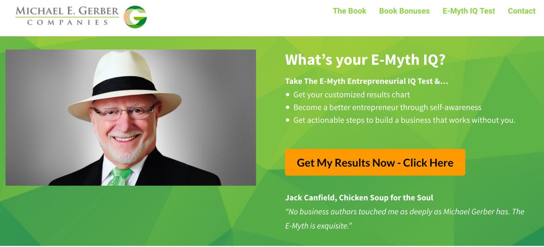 E-Myth IQ Landing Page Credit: David Jenyns